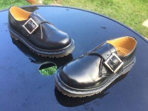 Dr negro cuero Eu Unido Inglaterra zapatos monje 36 2039 Reino hebilla Martens de 3 de Vintage de dvTzqwx6dW
