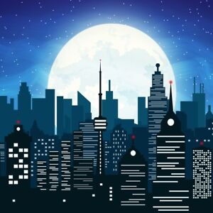 Image Is Loading City Night Background Wallpaper 10x10 Building Photograph