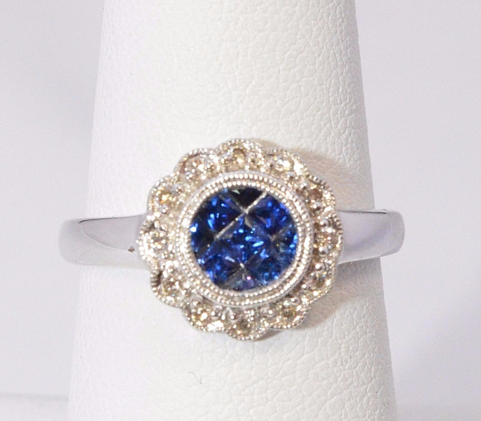 2577- 14K WHITE gold  SAPPHIRE & DIAMOND 0.82TCW 3.00 GRAMS SZ 7.75 RING