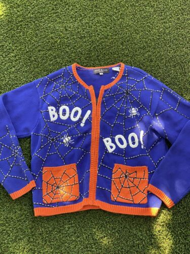 Ugly Halloween sweater Boo Spider Webs MC & CO EMB