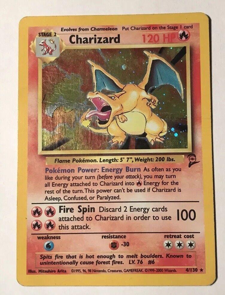 Charizard - 4 130 - - - Holo Rare - Base Set 2 - Pokemon Card LIGHT PLAY b955e4