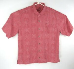 Tommy-Bahama-Men-039-s-Med-Rose-Island-Floral-Print-100-Silk-Short-Sleeve-Shirt-EUC