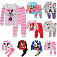 Mickey Minnie Sleepwear Girls Cartoon Long Sleeve Nightwear Boy Pyjamas Pj's Set