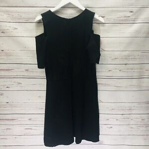 Necessary-Objects-Black-Cold-Shoulder-Dress-Large-A-Line-Short-Sleeve-New