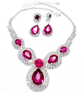 Choker-Necklace-Earring-Rhinestone-Austrian-Crystal-Hot-Pink-Pageant-Bridal-Prom