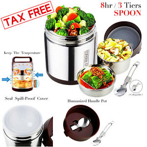 Vacuum Insulated Lunch Box Stainless Steel Jar Hot Cold Thermos Food