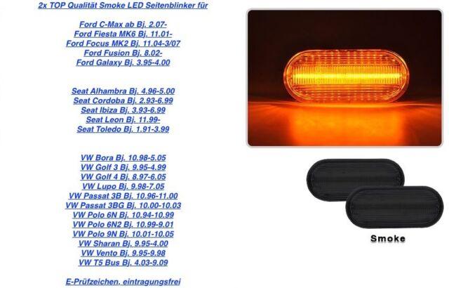 2x calidad superior Intermitentes laterales LED Negro VW Lupo 6X1, 6E1 (11