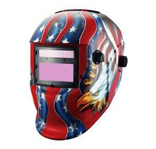 USA Eagle Red Welding Helmet Solar Auto Darken Weld Mask Wide Angle MIG TIG ARC
