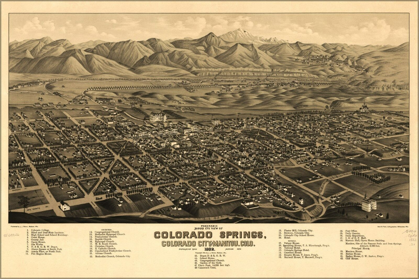 Plakat, Viele Größen; Panoramisch Karte Farbeado Federn Farbeado 1882