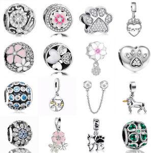 925-Silver-CZ-Flower-Zirconia-Charms-Bead-Pendant-Fit-sterling-Bracelet-Necklace