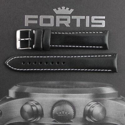 Uhrenarmband Grand Paner Dornschließe-Leder stark-schwarz mit roter Naht 26mm