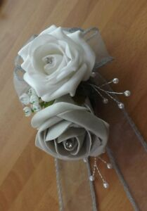 Wedding-flowers-wrist-corsage-white-silver-grey-rose-amp-button-hole-white-rose