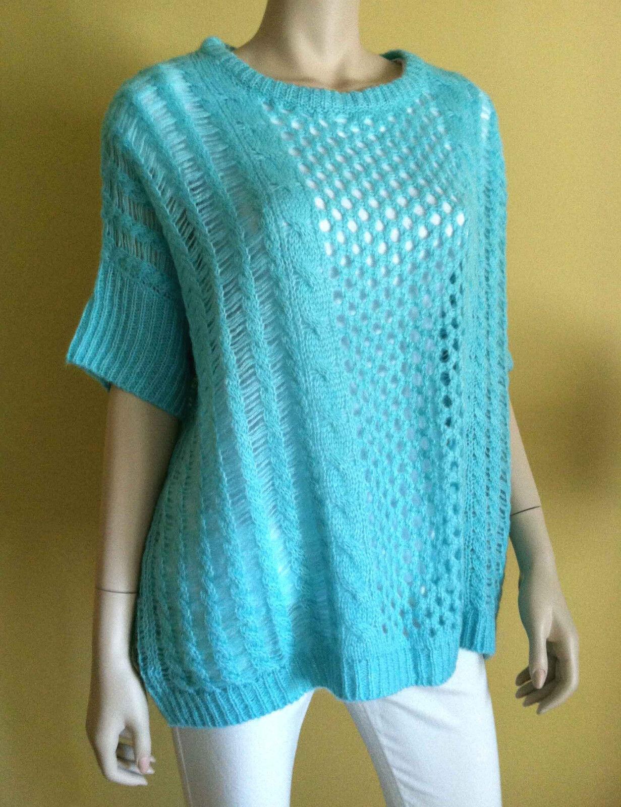 BBG MAXAZRIA Knit Cable Long tröja Pulver Dolman Sleve blå S