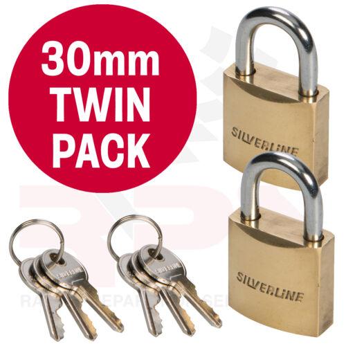TWIN PACK 30mm Brass Padlock Chrome Plated 3 KEYS Luggage Locker Garage Shed