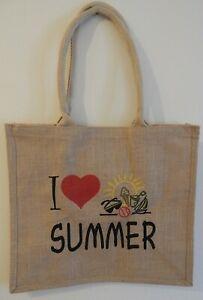 JUTE BAG I LOVE SUMMER BEACH BAG FESTIVAL BAG SHOPPING BAG UK SELLER