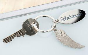 Gilde Schlüsselanhän<wbr/>ger Schutzengel Flügel Metall silber 51089 Geschenk Feder