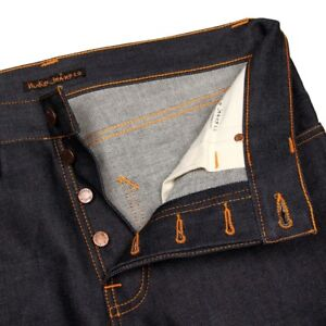 Steady Eddie Midnight Blues Nudie Mens Regular Tapered Fit Dark Denim Jeans