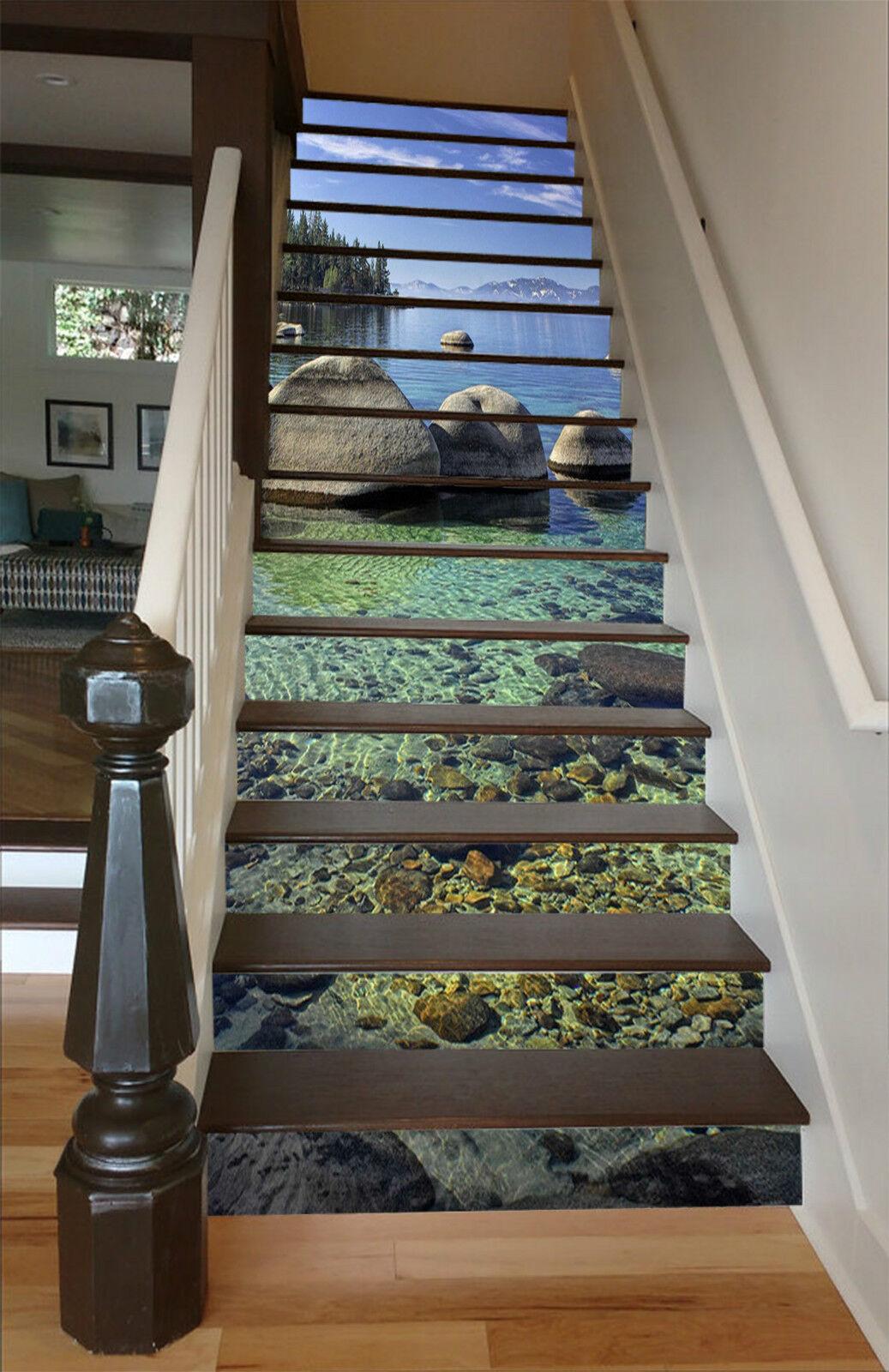 3D Klaren See 060 Stair Risers Dekoration Fototapete Vinyl Aufkleber Tapete DE