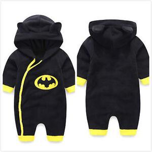 fc9c0bab5c35 Details about Newborn Boys Clothes Baby Batman Hoodies Infant Romper  Bodysuit Jumpsuit Outwear