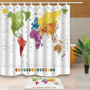 World map bathroom shower curtain waterproof fabric 12 hooks 71 image is loading world map bathroom shower curtain waterproof fabric 12 gumiabroncs Image collections