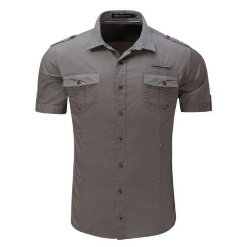 Men Casual Short Sleeve Cotton Cargo T-shirts Military Dress Shirt Pockets Top