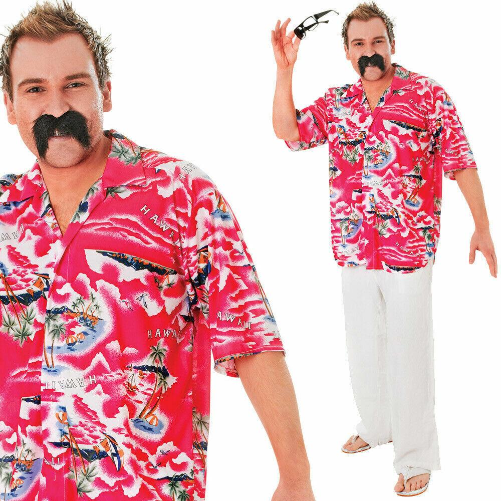 Adult Mens Pink Hawaiian Shirt Stag Retro Beach Tropical Fancy Dress Costume Top