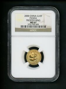 2000-China-G-10Y-10-Yuan-1-10-Ounce-Oz-Gold-Panda-Coin-NGC-MS67-Frosted-Ring