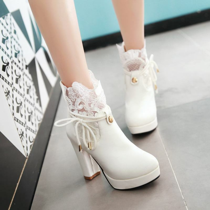 Ladies Block Heels Platform Lace Up Decor Pull On Ankle Boots Party Dating shoes