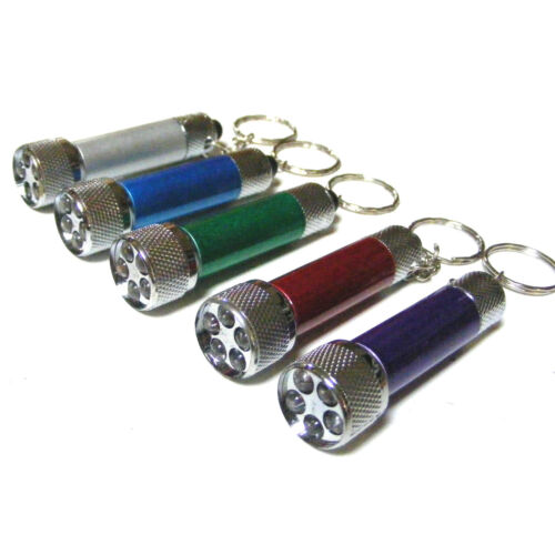 5 x SUPER BRIGHT 5 LED POWER KEYRING LIGHT SMALL MINI TORCH BATTERIES INCLUDED