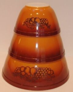 Pyrex Old Orchard dk brown/fruit 3 nesting/mixing bowls | eBay