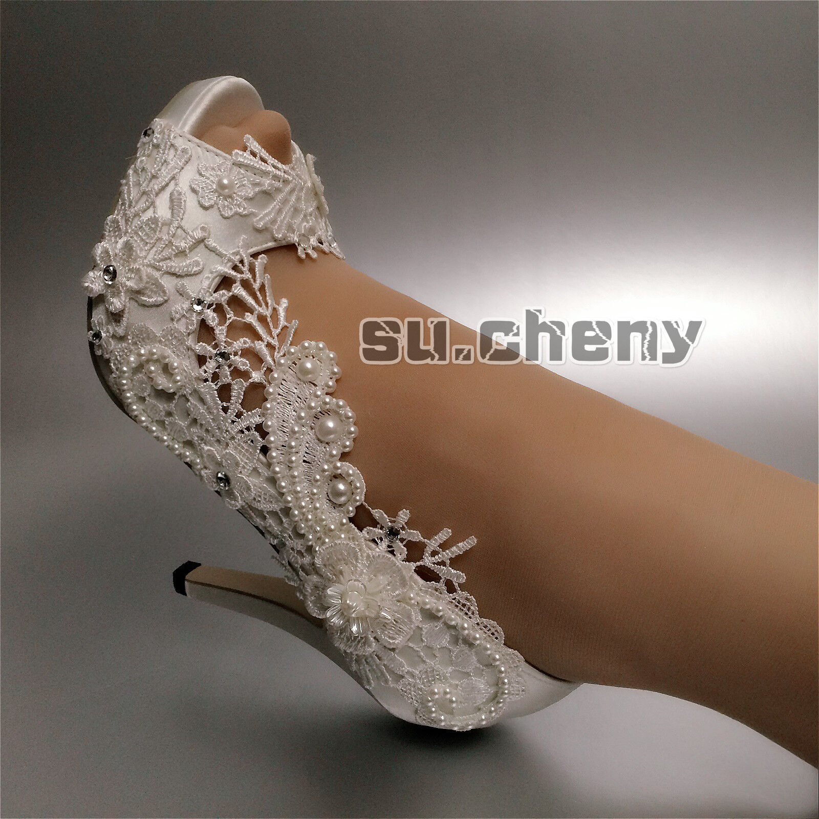 Su.cheny Su.cheny Su.cheny 3  4  heel satin Weiß ivory pearls lace peep toe Wedding Bridal schuhe 344b92