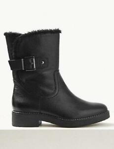 Women-039-s-Ex-MNS-Wide-Fit-Leather-Faux-Fur-Cuff-Ankle-Boots-Black-RRP-69