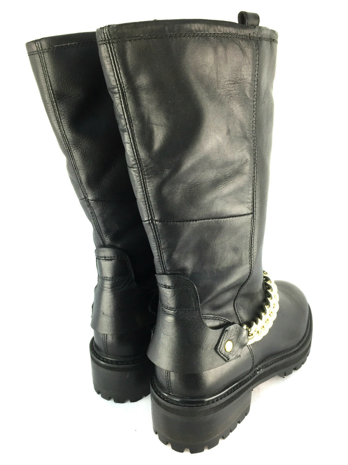 TOPSHOP BLACK SIZE LEATHER CHAIN Stiefel SIZE BLACK 37 39 40 64d647
