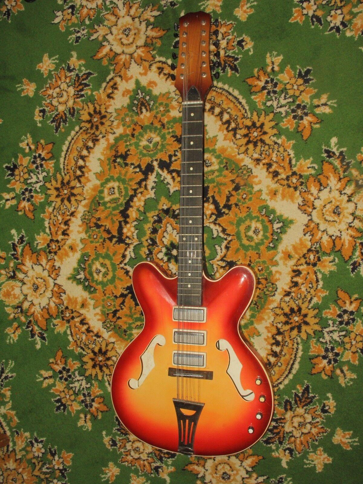 Maria Maria Maria URSS hueco de 12 Cuerdas Archtop 70s soviético Vintage Raro Gibson  conveniente
