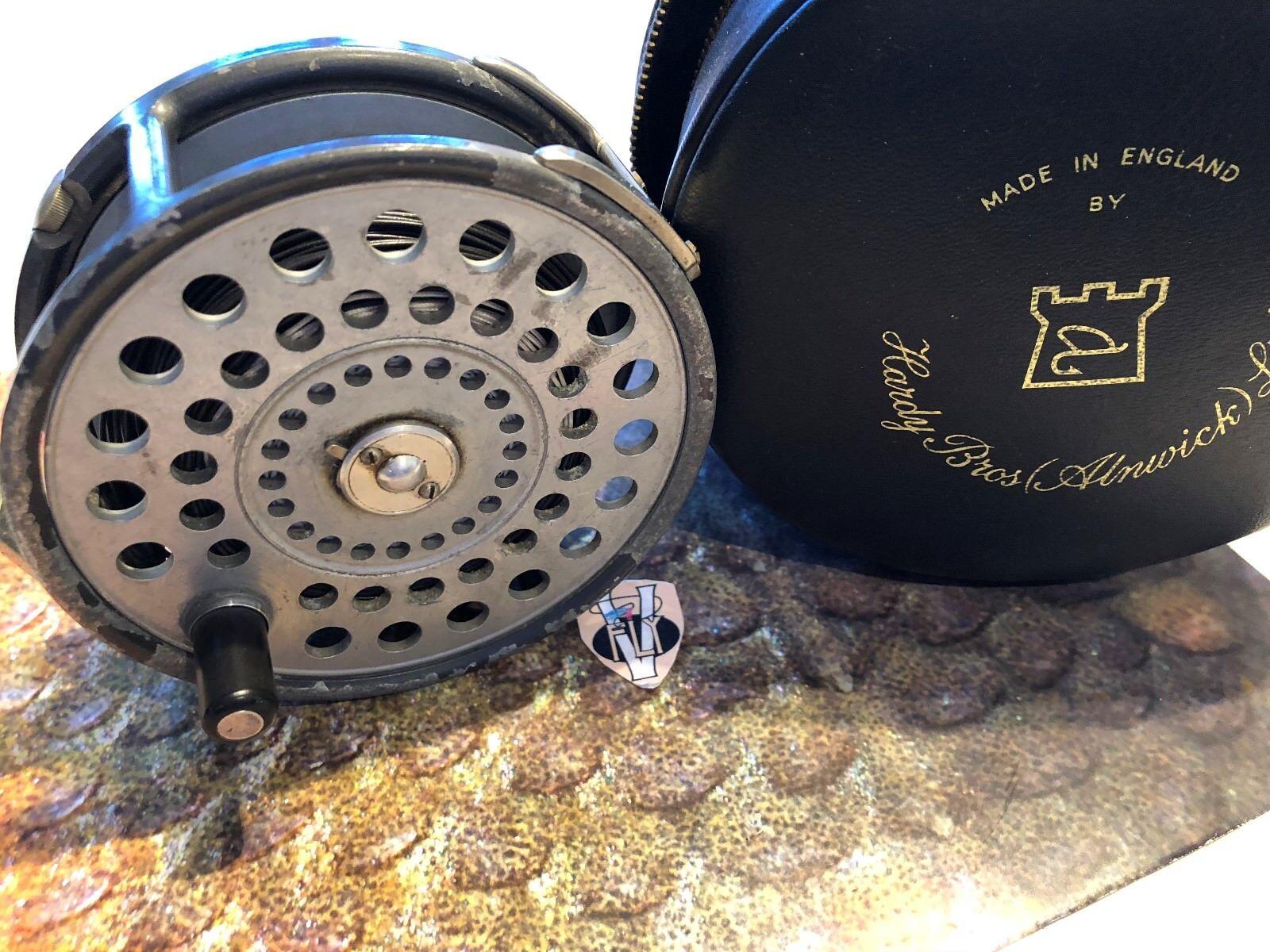 VINTAGE Hardy Brossohers 4 18 pollici di Sant 'Andrea Salmone Fly Reel & Custodia