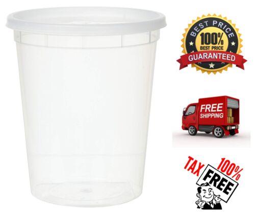12 Pack Plastic Soup Fruit Juice Food Container w// Lids Reuseable Microwaveable