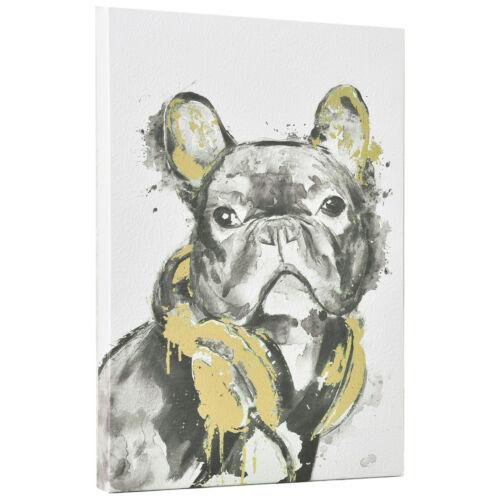 art.work Wandbild 45x30cm Bulldogge Leinwand Leinwanddruck GERAHMT Kunstdruck