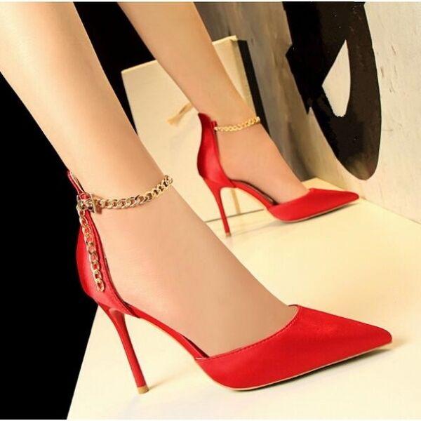 Decolte sandali stiletto 10 cm eleganti rojo cinturino pelle sintetica CW686