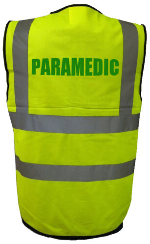 High Visability Hi Viz Vis Safety Vest PARAMEDIC Printed Workforce Uniform staff