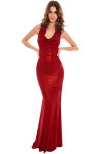 Nouvelle Femme Col Boule Métallique Soirée Robe Longue, Rouge, Uk 8, 10, 12-afficher Le Titre D'origine Produits Vente Chaude