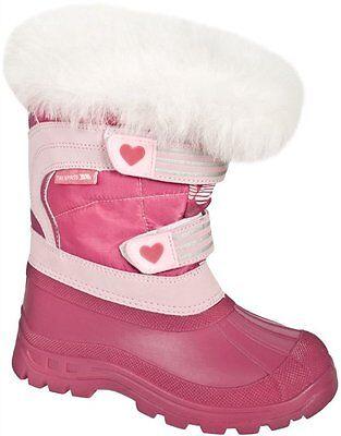 TRESPASS FROST GIRLS KIDS SNOW WINTER PINK BOOTS WATERPROOF GERBERA HEART PINK