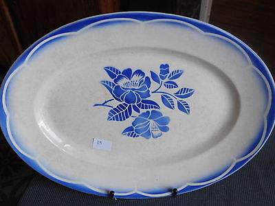 Decorative Arts Digoin Sarreguemines Antique Large Dish Faience Oval Service Marsac Blue N°2 Special Buy