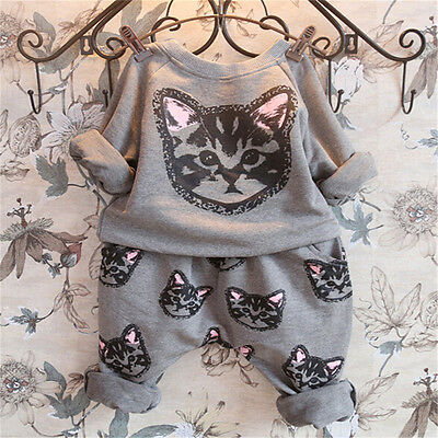 New Kids Girls 100% Cotton Lovely cat print Casual Loose Style Suits Set S767