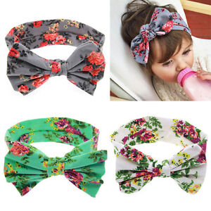 Enfants-Fille-Enfants-Imprimer-Floral-bowknot-Bandeau-Turban-Knot-Bandeau