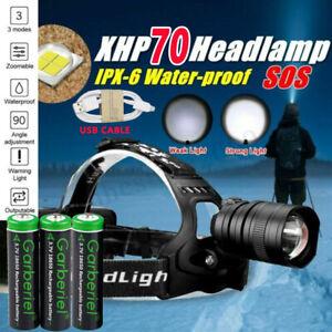 Powerful XHP70.2 XHP90.2 LED Headlamp Zoom USB Rechargeable Headlight Torch Lamp