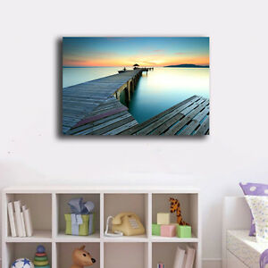 40-60-3cm-Beach-Side-Wharf-Canvas-Print-Framed-Wall-Art-Home-Decor-Painting-VIII