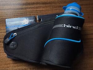Hind Hydration Running Belt Black Water Bottle Zipper Pouch NEW