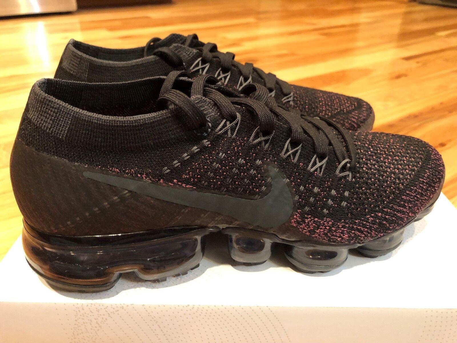 Nike Women's Air Vapormax Flyknit Black Vintage Wine Purple 849557-007 Size 8.5