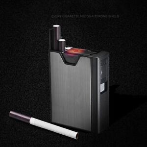 20-Loaded-Windproof-USB-Lighter-Cigarette-Case-Tobacco-Holder-Box-Dispenser-DEN
