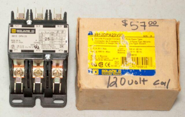 25 Amps 3 pole new Square D Contactor 8910DPA23 24 volt coil